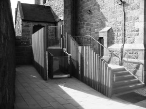 outside platform lift B&W